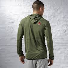Canopy On Sale by Reebok One Series Jacquard Camo Hoodie With Canopy Green