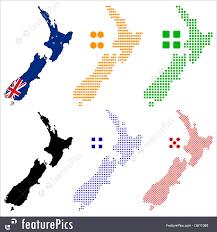 New Zealand Map New Zealand Map Flag Illustration