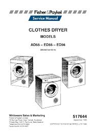 fisher paykel ad55 ed55 ed56 service manual download schematics