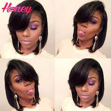 are there any full wigs made from human kinky hair that is styled in a two strand twist for black woman straight bob wigs layered human hair bob wig with bang glueless