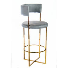 Leather Bar Chair Statements By J U0027carrie U0027 Grey Gold Tone Faux Leather Metal Bar