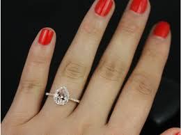 teardrop engagement rings rosados box 8x6mm gold pear morganite and diamonds