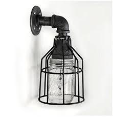 Industrial Wall Sconce Industrial Wall Sconce Pipe Lighting W Jar For Kitchen