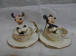 lenox disney mickey mouse minnie a ride teacup ornaments set of 2