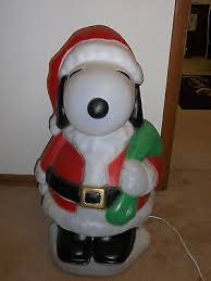 31 peanuts snoopy santa best blowmold light plastic outdoor