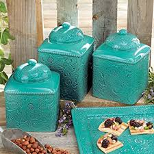 teal kitchen canisters amazon com savannah turquoise canister set home kitchen