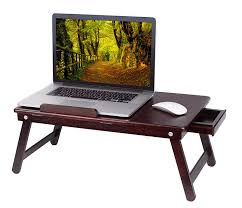 amazon com birdrock home bamboo laptop bed tray walnut multi