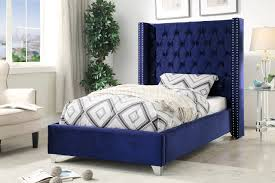 Royal Bed Frame Aiden Fabric Bed In Royal Navy Velvet By Meridian W Options