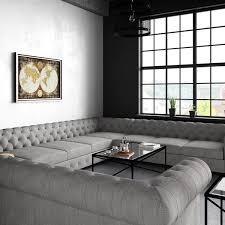 moser bay furniture garcia tufted linen u shaped sectional sofa