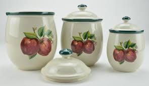 apple canisters for the kitchen casuals by china pearl apple three ceramic canister set