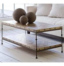 Mango Wood Outdoor Furniture - shays rustic mango wood parquet metal rectangle coffee table