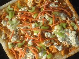 white pizza with buffalo sriracha chicken and yogurt ranch