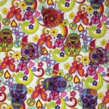 sugar skulls cotton fabric always knitting and sewing shop