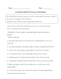 pronouns worksheets indefinite pronouns worksheets