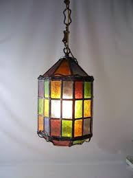 multi colored hanging lights light multi colored pendant light vintage stained glass leaded