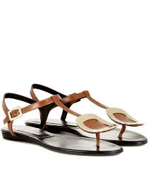 roger vivier thong chips embellished leather sandals brown women