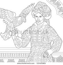 coloring ottoman sultan hawk falcon stock vector 722405965
