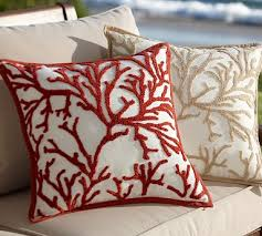 branch coral embroidered outdoor pillow