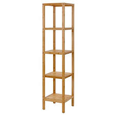 Bathroom Shelf Unit Amazon Com Songmics 100 Bamboo Bathroom Shelf 5 Tier