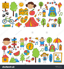 summer camp children kids camping children stock vector 612637085
