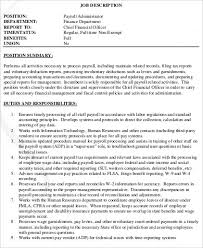 payroll administrator job description sample 8 examples in word