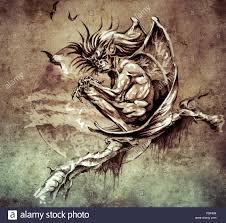 sketch of tattoo art gargoyle monster sitting in a tree on