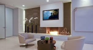 contemporary fireplace designs with tv above minimalistic design