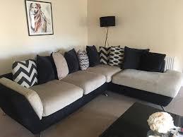 Beige Fabric Sofa Furniture Village Two Piece Corner 3 Seater Beige Black Fabric