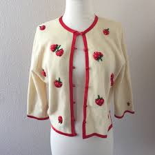 strawberry sweater 50 vintage sweaters 1950s 1960s vintage strawberry cardigan