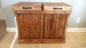 recycling bin double trash can double garbage can rustic