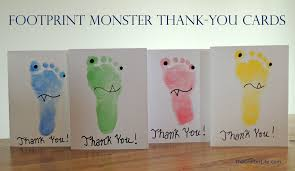 footprint monster thank you cards