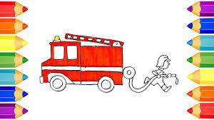 draw coloring fire truck draw kids learning
