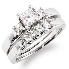princess cut wedding set 14k white gold 3 princess cut diamond wedding ring set 0 85