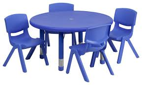 Kids Round Table And Chairs Flash Furniture 33 Inch Round Adjustable Plastic Activity Table