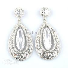 wedding earrings drop 2017 wedding silver clear drop earrings made with aaa