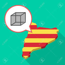 Catalonia Spain Map by Illustration Of A Long Shadow Map Of Catalonia With A Comic