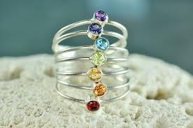 natural gemstones rings images Rainbow stacking ring set chakra rings natural gemstones mu jpg
