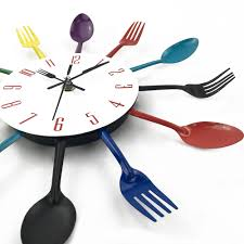 Colorful Kitchen Knives Aliexpress Com Buy Cutlery Design Wall Clock Metal Colorful