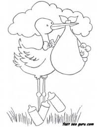 printable baby boy stork bundle coloring pages childrens
