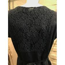 fred sabatier sabatier indigo linen dress with lace