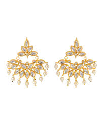 Buy Kundan Embellished Dangler Earrings Buy Dangler Earrings Silver Gold Plated Pearl Kundan Earrings