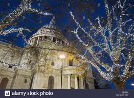 christmas lights outside st paul u0027s cathedral london england