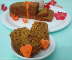 bowl of food with ash eggless carrot cake no maida no butter