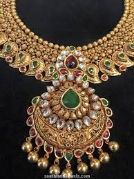 indian bridal jewelry necklace images Bridal choker necklace design south india jewels jpg