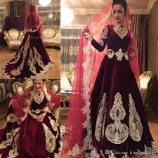 wedding dress muslim discount charming velvet dress muslim wedding gown sleeves