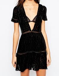 stone cold fox the virgo burnout silk velvet dress in black in