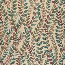 Blue Damask Upholstery Fabric Teal Green Orange Purple Vines Leaves Contemporary Upholstery