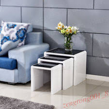 white side tables for living room modern design white coffee table high gloss nested tables living
