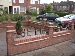 front garden brick wall designs grey brick at top of wall to match