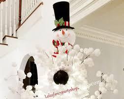 snowman tree snowman tree topper large black hat stripe scarf on